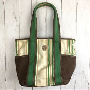 Tommy Hilfiger Green Brown Striped Tote Bag